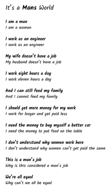 """Poem called """"It's a Mans World"""""""